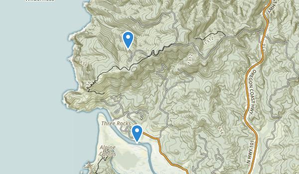 trail locations for Cascade Head Scenic Research Area