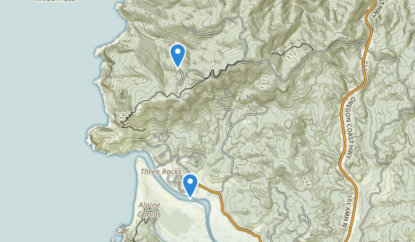 trail locations for Cascade Head Scenic Research Area