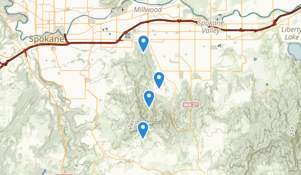 trail locations for Dishman Hills Natural Area