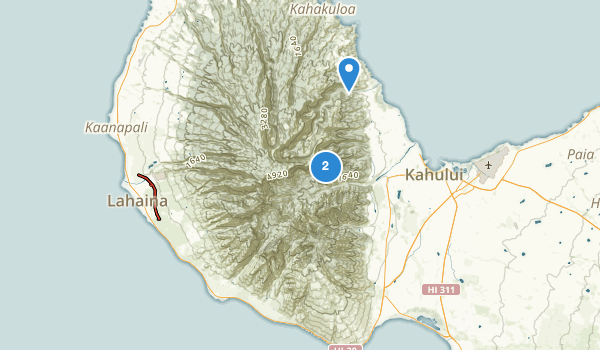 trail locations for West Maui Forest Reserve