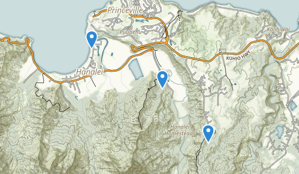 trail locations for Hanalei National Wildlife Refuge