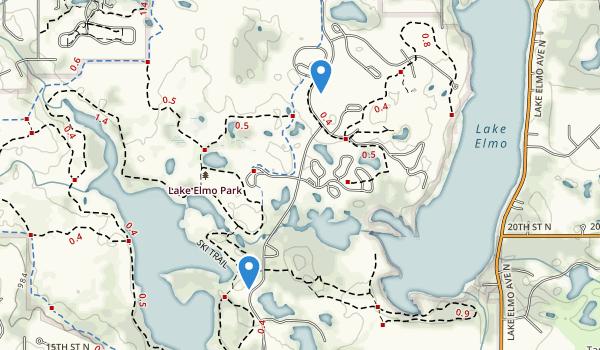 trail locations for Lake Elmo Regional Park