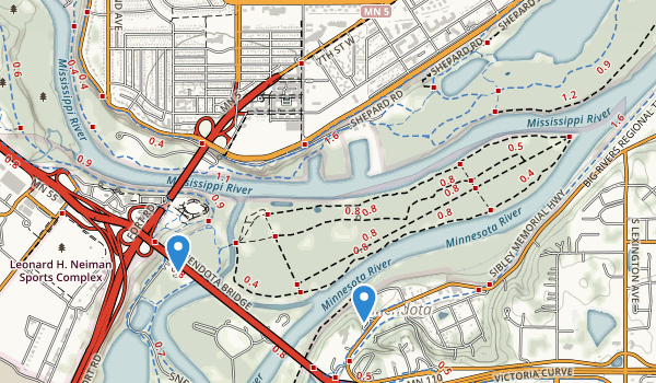 trail locations for Crosby Lake Regional Park