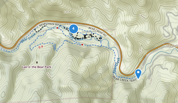trail locations for Lair o' the Bear Park