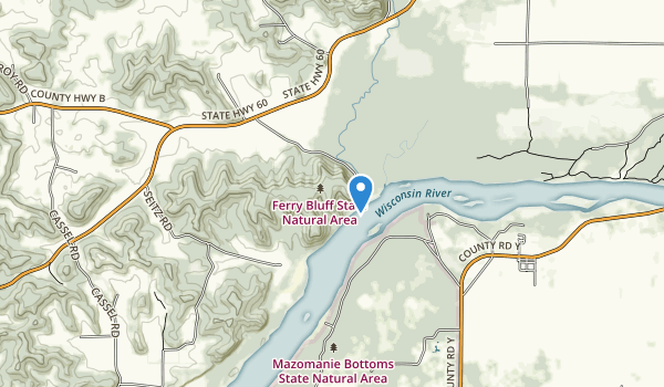 trail locations for Ferry Bluff State Natural Area