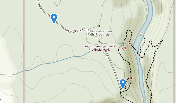 trail locations for Englishman River Falls Provincial Park
