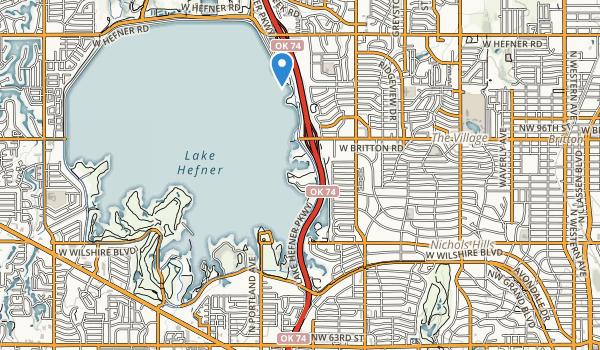 trail locations for Lake Hefner Park