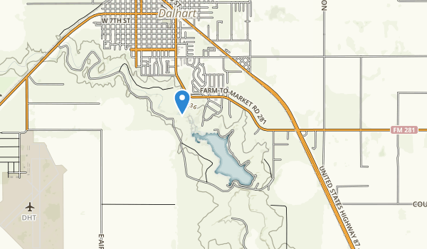 trail locations for Lake Rita Blanca State Park
