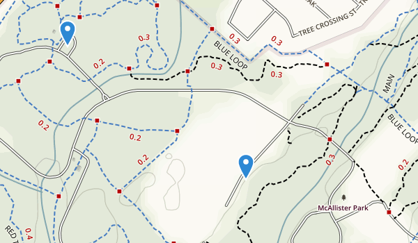 trail locations for Mcallister Park