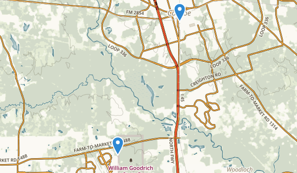 trail locations for W G Jones State Forest