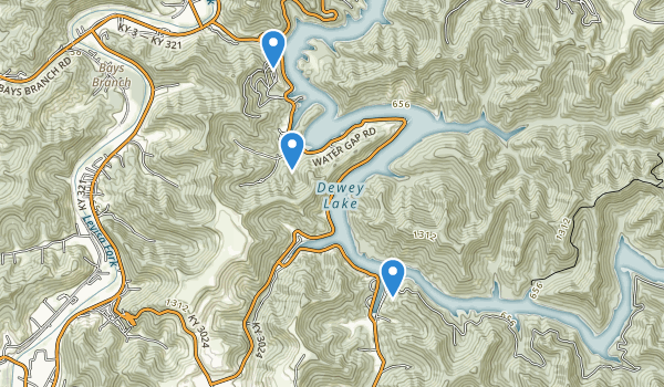 trail locations for Jenny Wiley State Resort Park