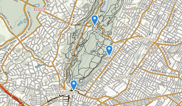 trail locations for South Mountain Reservation