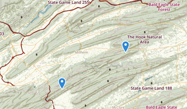 trail locations for Bald Eagle State Forest
