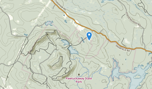 trail locations for Pawtuckaway State Reservation