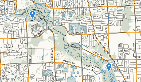 trail locations for Rochester/Utica State Rec Area