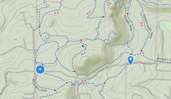 trail locations for Alderfer / Three Sisters Park