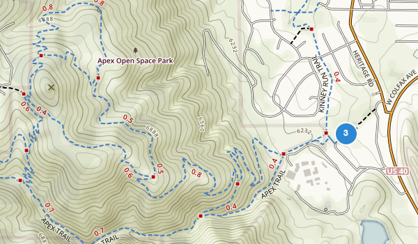 trail locations for Apex Open Space Park