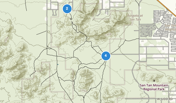 trail locations for San Tan Mountain Regional Park