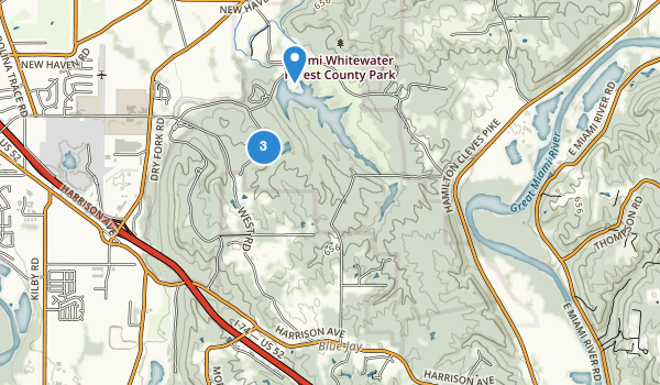 trail locations for Miami Whitewater Forest Park