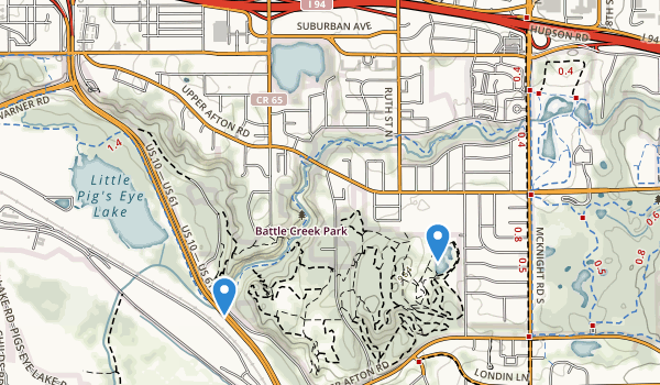 trail locations for Battle Creek Indian Mounds Park