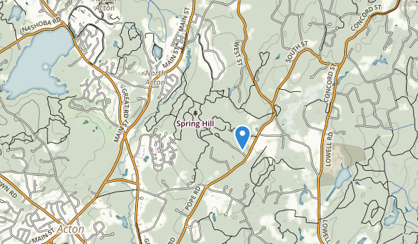 trail locations for Nashoba Brook Conserv Area