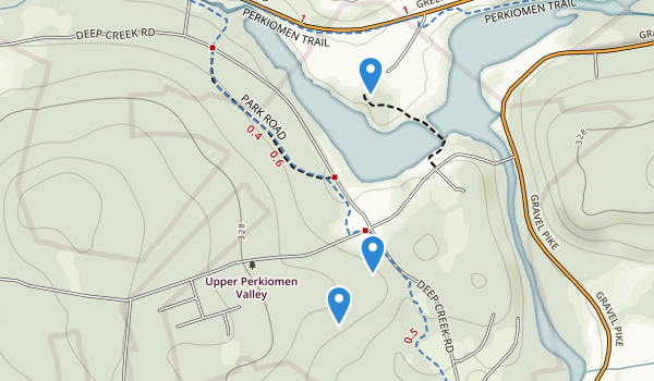 trail locations for Upper Perkiomen County Park