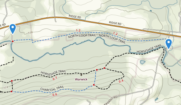 trail locations for Warwick County Park
