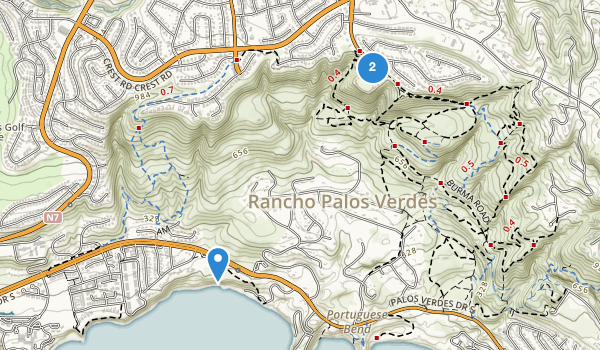 trail locations for Abalone Cove Shoreline Park