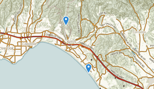 trail locations for Aptos Village County Park