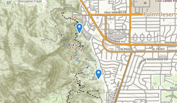 trail locations for Cahuilla Hills Park
