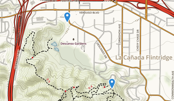 trail locations for Descanso Gardens