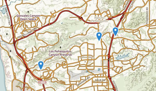 trail locations for Los Penasquitos Canyon Presv