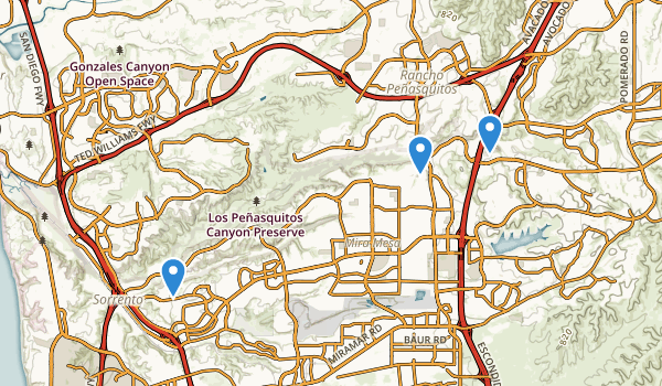 trail locations for Los Penasquitos Canyon Presv