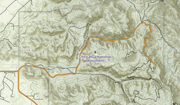 trail locations for Chiricahua National Monument Wilderness