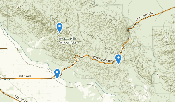 trail locations for Mecca Hills Wilderness