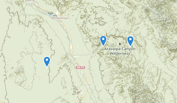 trail locations for Aravaipa Canyon Wilderness