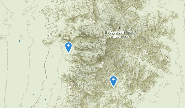 trail locations for Baboquivari Peak Wilderness