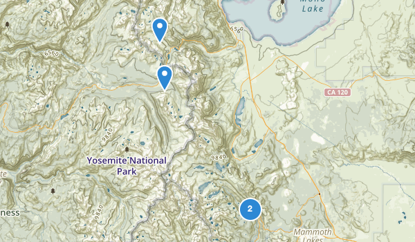 trail locations for Ansel Adams Wilderness