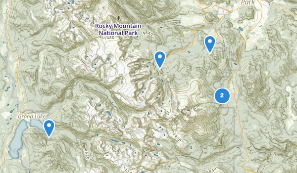 trail locations for Rocky Mountain National Park Wilderness