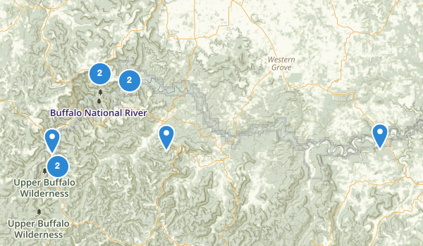 trail locations for Buffalo National River Wilderness