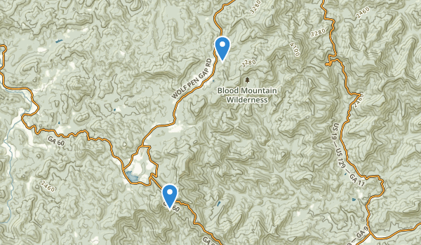 trail locations for Blood Mountain Wilderness
