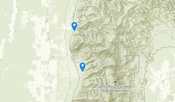 trail locations for Santa Rosa-Paradise Peak Wilderness