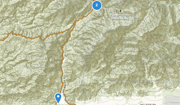 trail locations for Cucamonga Wilderness