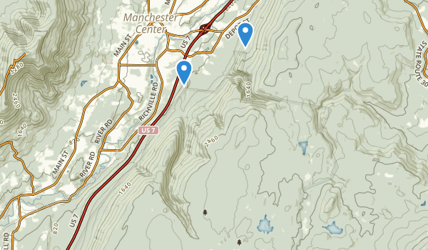 trail locations for Lye Brook Wilderness