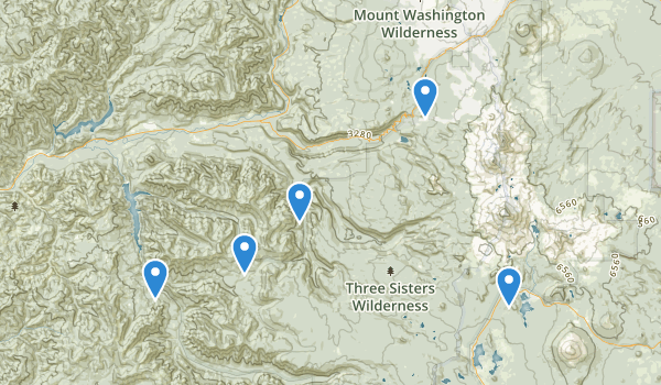 trail locations for Three Sisters Wilderness