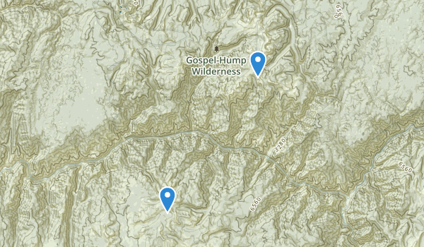 trail locations for Gospel-Hump Wilderness
