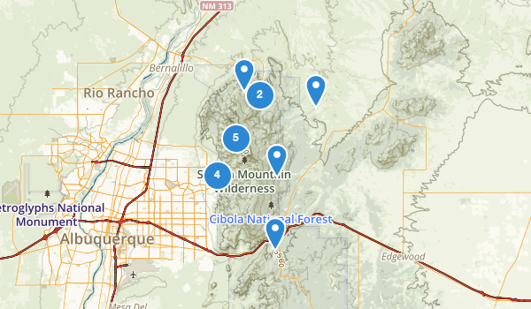 trail locations for Sandia Mountain Wilderness