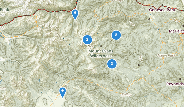 trail locations for Mount Evans Wilderness