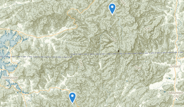 trail locations for Southern Nantahala Wilderness