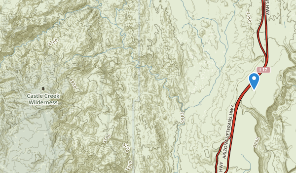 trail locations for Castle Creek Wilderness